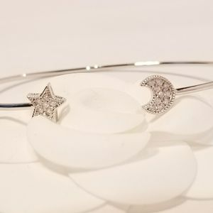 Moon  and Star Pave CZ Bracelet Bangle Cuff